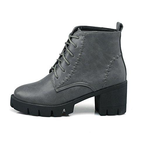 Womens Gray Boots Imitated Platform Chunky Bandage BalaMasa Leather Heels 1Rx8qSqwd