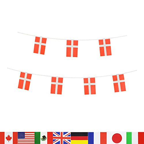 Denmark Flag,LoveVC 100 Feet Danish Dane Flag National Country World Pennant Banner Flags,Party Decorations For Olympics,Bar,Sports Events,International Festival Celebration