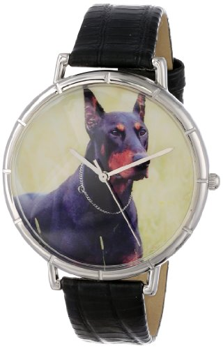 Doberman Whimsical Watches Women's T0130035 Black Leather And Silvertone Photo Watch