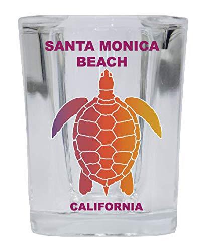 Santa Monica Beach California Souvenir Rainbow Turtle Design Square Shot Glass (Best Delivery Santa Monica)