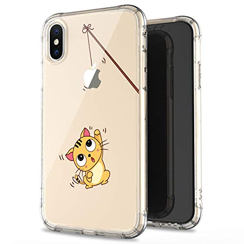 JAHOLAN iPhone X Case Amusing Whimsical Design Clear Cute TPU Soft Case Rubber Silicone Cover Phone Case for Apple iPhone Xs 2018 / iPhone X 2017 (5.8 inches) - Cat Fishing