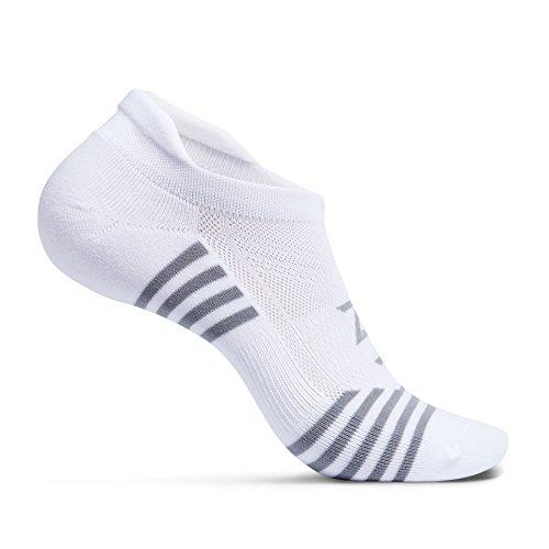 Zeropes Anti-Blister No Show Running Socks (1 Pair) (Large, White)