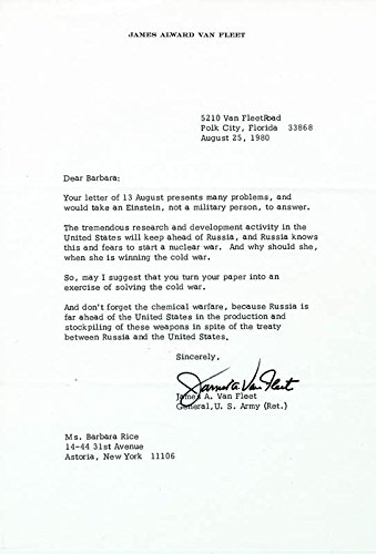General James A. Van Fleet Typed Letter Signed 08/25/1980