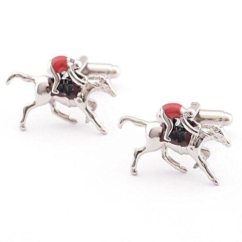 Covink Horse Jockey Cufflinks Men's French Shirt Sleeve Button Horseracing Cuff Button (Red)