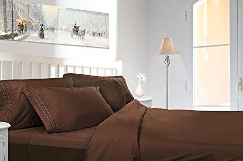 Egyptian Comfort 1800 Count 4 Piece Deep Pocket Bed Sheet California King 4pc Set (Chocolate Brown) ()