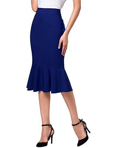 Kate Kasin Womens High Stretchy Midi Skirts Wrap Style Pencil Skirts M K241-3 ()