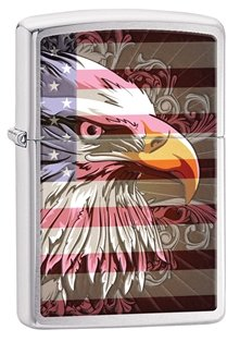 "Zippo ""Majestic Eagle"" Brushed Chrome Lighter"