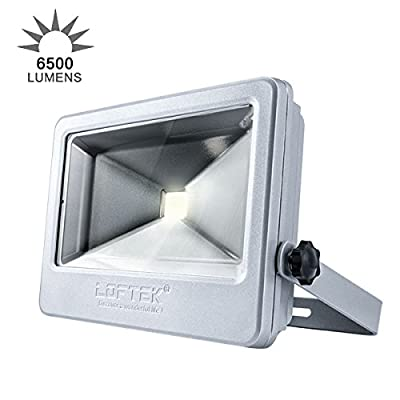 LOFTEK 50W Daylight White Floodlight, Super Bright Outdoor LED Flood Light, 6500 LM, High Powered Waterproof Security Spotlight with Timer Function, Silver