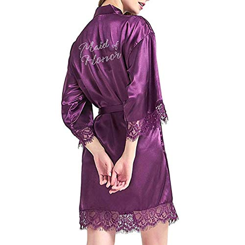 SexyTown Womens Short Nightgown Satin Kimono Rhinestone Robe (Large, Maid of Honor Purple Lace)]()