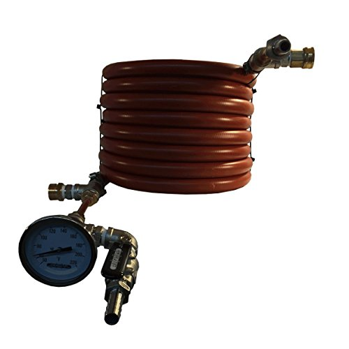 HomeBrewstuff Super efficient CounterFlow Wort Chiller With Optional Valve and Thermometer Upgrade (Optional Valve and Thermometer Upgrade)