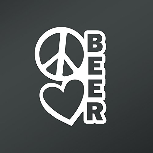Peace Love Beer Vinyl Decal Sticker | Cars Trucks Vans Walls Laptops Cups | White | 5.5 X 4 Inch | KCD1661