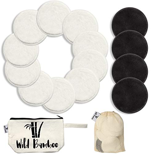 (Natural Cotton Bamboo Rounds 14 Packs |Reusable Bamboo Makeup Remover Pads for Face | Bamboo Velour Layers - Travel Bag w/Laundry Bag |Bonus Hairband |Zero Waste Cleansing Sustainable Toner )