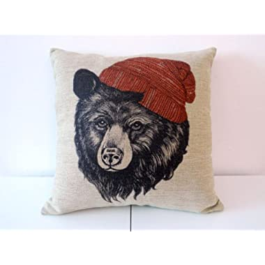 HOSL Cotton Linen Square Throw Pillow Case Decorative Cushion Cover Pillowcase for Sofa Animal Black Bear Wear Hat 18  X18