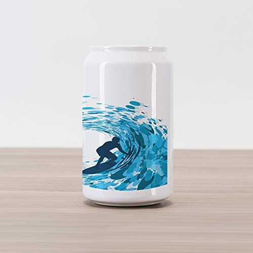 Ambesonne Ride The Wave Cola Can Shape Piggy Bank, Silhouette of a Surfer Under Giant Ocean Waves Athlete Hobby Lifestyle Image, Ceramic Cola Shaped Coin Box Money Bank for Cash Saving, Night Blue