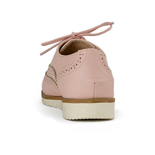 RF ROOM OF FASHION Women's Wing Tip Saddle Lace up Platform Oxford Flats - Trendy Flatform Shoes Pink (8.5) by RF ROOM OF FASHION (Image #2)