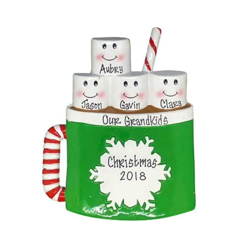 Hot Chocolate with Marshmallows Family Personalized Christmas Tree Ornament (Family of 4)
