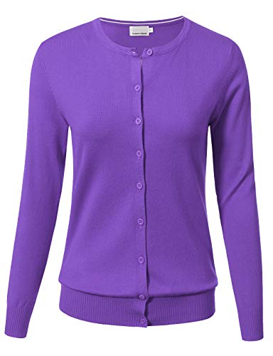 - ARC Studio Women Button Down Long Sleeve Crewneck Soft Knit Cardigan Sweater M Ultra Violet