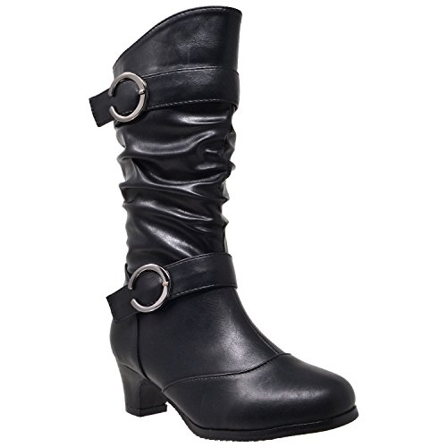 Generation Y Kids Girls Knee High Mid Calf Boots Double Buckle Zip Close High Heel Shoes GY-BK-JOE-15