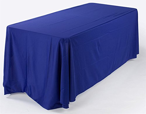 Royal Blue Tablecloth Completely Covers 4 Sides of a 6-Foot Long Rectangular Table, Machine Washable, Certified Flame Retardant, Stitched Rounded Corners, Premium - Side 4 Tablecloth