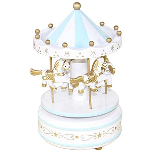 BigFamily New Blue Wooden Merry-Go-Round Carousel Music Box Kids Wedding Gift Toy