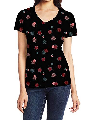 Women's V-Neck Short Sleeve Blouse T Shirts Casual Tops Ladybug