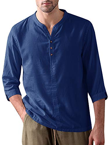 (Mens Linen Henley Shirt Casual 3/4 Sleeve T Shirt Pullover Tees V Neck Curved Hem Cotton Shirts Beach Tops (XX-Large, B-Navy Blue))