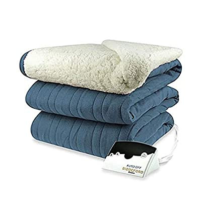 1489219c585 Biddeford 2064-9052140-500 MicroPlush Sherpa Electric Heated Blanket King  Denim