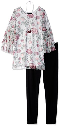 Amy Byer Big Girls' Long Sleeve Top and Legging Outfit Set, Swirling Floral/Black, S by Amy Byer