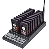 NADAMOO Restaurant Pager System with 20 pcs Coaster Pagers and 1 pc 999-Channel Keypad Call Button Extensible Wireless Calling System for Food Truck Clinic Church Cafe Shop