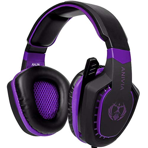 Gaming Headset Bass Surround Sound Stereo PS4 Headset with Flexible Microphone Volume Control Noise Canceling Mic Over-Ear Headphones Compatible for PS4 Xbox one Laptop PC Mac Purple