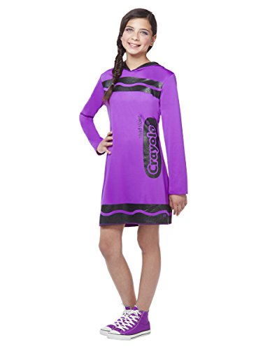 [Spirit Halloween Tween Sparkle-Print Hooded Crayon Costume - Crayola,Vivid Violet,L] (Halloween Costumes At Spirit Halloween)
