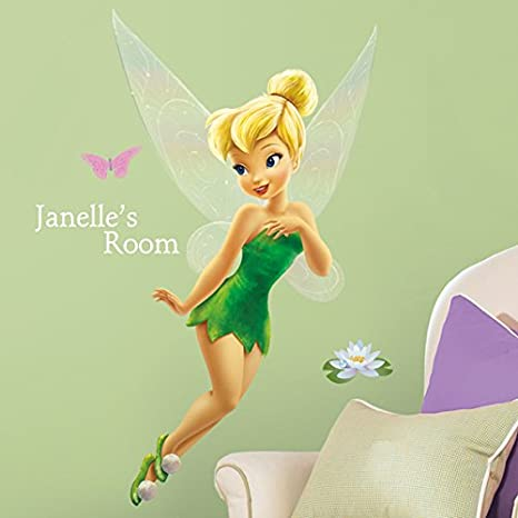 Roommates Rmk1772Gm Disney Tinkerbell Peel And Stick Giant Wall Decal With Personalization