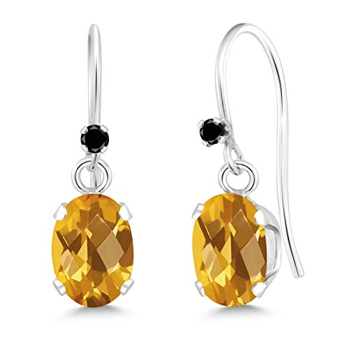 And Diamond Earrings Citrine (1.42 Ct Oval Checkerboard Yellow Citrine Black Diamond 925 Silver Earrings)