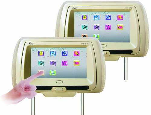 Tview T99DVTS-TN Two Heasdrests Touch Screen Monitor with Dual Side DVD Player (Tan)