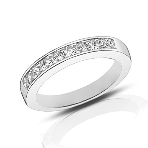 Madina Jewelry 1.00 Ct Ladies Princess Cut Diamond Wedding Band Ring in Platinum in Size 10