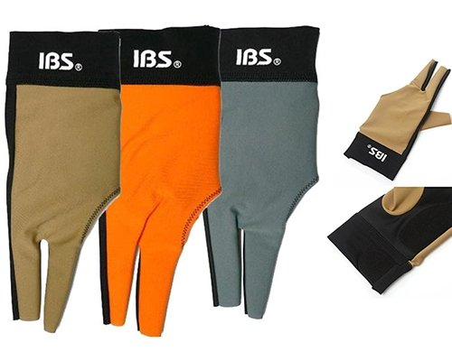 IBS Carom Billiards Pool Cue Glove Professional 2-Tone Color Orange/Black One Size Fits All for Right Handed Players