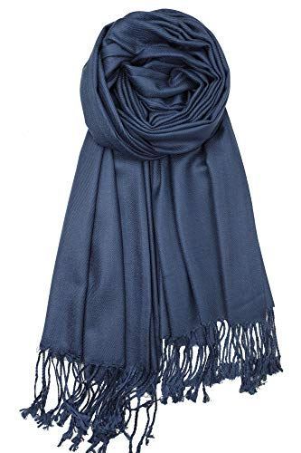 - Achillea Large Soft Silky Pashmina Shawl Wrap Scarf in Solid Colors (Navy)