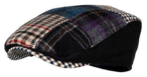 (Men's Multi Pattern Patchwork Wool Blend Newsboy Ivy Golf Hunting Hat (MULTI-BLUE, SM))