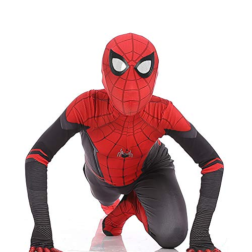 High Quality Kids Costumes (Far from Home Spider-Man Suit for Kids Hero Expedition Spiderman Costume Cosplay Dress Siamese Tights Halloween)