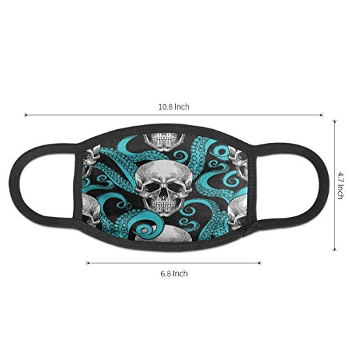 Dust Mask Blue Octopus Kraken Sugar Skull Antiviral Face Mask Cover Anti-dust Reusable Windproof Half Face Mouth Warm Masks for Ski Bicycle Cycling Motorcycle Women Men