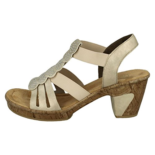 Rieker 69702 Womens Heeled Sandals Beige / goldfarben