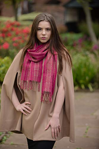 (Pink and Camel Stripe Lambswool Scarf)