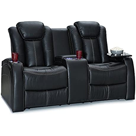 Seatcraft Republic Leather Home Theater Seating Power Recline Loveseat W Center Console Black