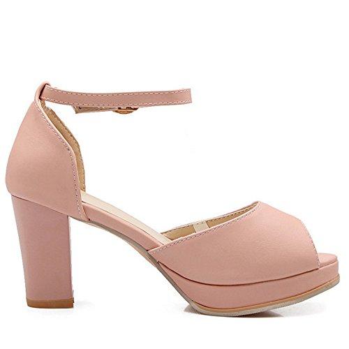 Mujer Sandalias Toe Zapatos Ancho Tacon Rosa Fiesta Razamaza Tobillo Peep  Al BFwdqxTtf 78ffe27b93de