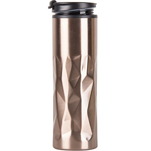 Split Lid - 15oz Insulated Stainless Steel Travel Mug Sweat Free Tumbler with Anti-Split Lid,Double Wall Coffe Mug With Leak-proof Coffee Cup for Home Office Outdoors (Gold)