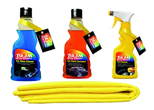 TYRE Dresser 250ml.+CAR Glass Cleaner 250ml.+ CAR WASH Shampoo 250ml.+ Yellow CAR Microfiber Cloth
