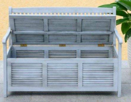 Garden Bench, Patio Storage - Acacia Wood, Grey