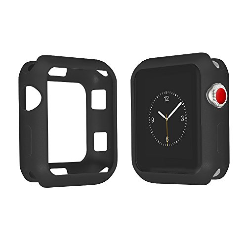 Qinfeng Shock-Proof Anti-Scratch and Shatter-Resistant Soft Slim TPU Protective Cover Bumper Case Compatible with Apple Watch Series 42mm 3 2 1 (Matte Black, 42MM)