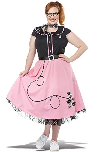 California Costumes Women's Size Pink 50'S Sweetheart Adult Woman Plus Costume, Black, 3X Large