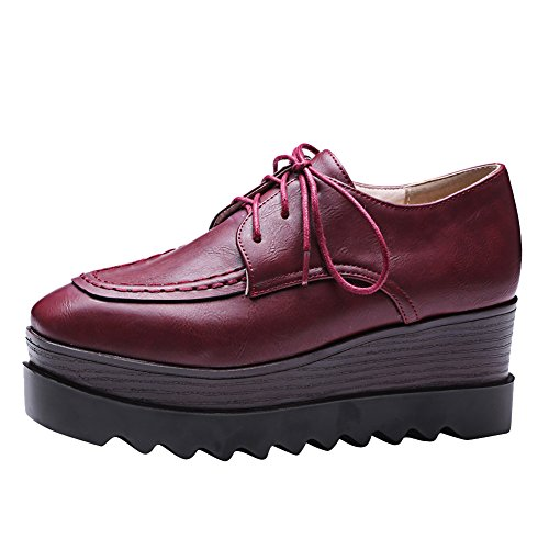 Latasa Womens Platform Lace-up Oxford Wedges Shoes Dark Red XXujj